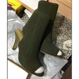 Wholesale Satin Beige Heels - 2017 new desigh women ankle boots peep toe gladiator sandal boots thin heel mujer botas knitting wool booties boots lady party shoes9.5 12cm