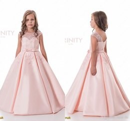 Wholesale Pretty Bridesmaids Dresses Red - Pretty Light Pink Flower Girls Dresses A Line Beads Jewel Neck Children Birthday Communication Gown Custom Made Junior Bridesmaid Dress 2017