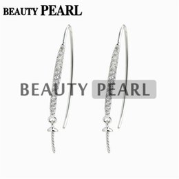 Wholesale Earring Hook Sterling Silver - 5 Pairs Earwire Findings 925 Sterling Silver Hook Pearl Drop Earrings Semi Mounting Cubic Zirconia Jewellery