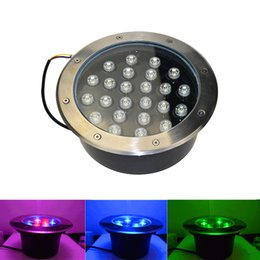 Wholesale Led Ground Rgb - LED Underground Lamps 24W 12V IP67 Waterproof Ground Led Buried Lamp Project Landscape Lights Engineering Light Outdoor Garden Park Lights