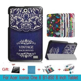 """Wholesale Shell Acer - Lightweight Shell Magnetic Closure Print PU Leather Sleeve Cover Protective Case Acer Iconia One 8 B1-850 8"""" Tablet +Pen"""