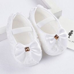Wholesale Pre Tied Bows Wholesale - Wholesale- Baby Shoes Girl Todder Pre-walker Shoes Rose Flowers Bow Princess Newborn Baby Soft Sole First Walkers