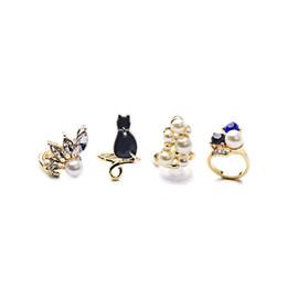 Wholesale Red Pearl Gemstones - Midi Rings 4 pcs Set Vintage Women's Gemstone Knuckle Midi Ring Cat Pearl Rings for Women