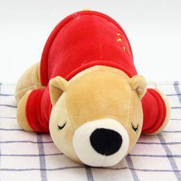 Wholesale Dresses Girlfriends - New cute dressing polar bear plush puppet bears soft body pillow toys to send girlfriend children doll factory direct gift wholesale