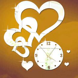 Wholesale Love Hearts Stickers - 3D DIY Acrylic Love Heart Clock Mirror Wall Clock Surface Stickers Rectangular Decorative Wall Clocks eco-friendly design