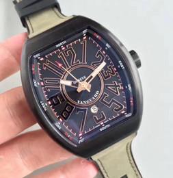 Wholesale Geneva Style Watch - New Style Mens Automatic Black Pvd Watch Men Tonneau Eta 2824 Swiss Watches Vanguard V45 SC DT Glacier Dive Leather Geneva Wristwatches