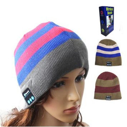 Wholesale Wholesale Sports Ties - 4 Colors Wireless Bluetooth Beanies Sport Music Hat Smart Headset Cap Warm Winter Hat With Mic Speaker For All Smart Phones CCA7469 30pcs