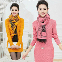 Wholesale Thick Sweater Scarves - Wholesale- Sending scarf women cashmere sweater Women dress medium-long pullovers cashmere sweater women plus size 3XL
