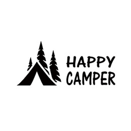 Wholesale happy stickers - 2017 Hot Sale Happy Camper Camping Vinyl Graphics Decals Sticker For Car Truck Creative Decorative Car Styling Decal Jdm
