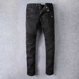 Wholesale Classic Men S Jeans - Men's Slim Fit Black Stretch Denim Skinny Biker Jeans Classic Knee Drape Panel Moto Biker Jeans Size 28 42