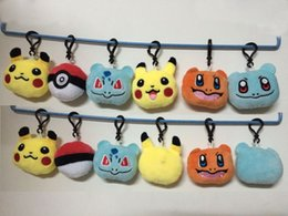 Wholesale Pokemon Doll Pikachu - Stuffed Animals & Plush Toys keyring key chain gifts Poke ball cartoon Plush dolls toys Pikachu Elf pokeball go keychain Pendant