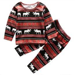 Kleine mädchen, die marken kleiden online-Kinder Baby kleine Jungen Mädchen Kleidung Sets Weihnachten Rentier Nachtwäsche Säuglingsnachtwäsche Pyjamas Set berühmte Marke Kinder 2 Stücke Outfit Kleidung
