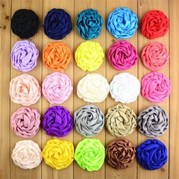 """Wholesale Silk Rosebuds - 50pcs lot 25 Color 3"""" Stain Silk Rosebud Flowers Handmade Rolled Puff Rosette Hair Accessories Boutique Supply FH39"""
