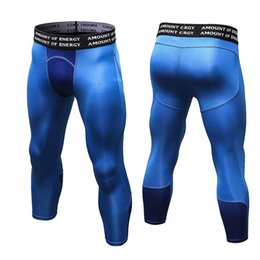 Wholesale Mens Compression Sports Pants - 2018 New 3 4 Leggings Mens 3d Printed Gym Compression Fitness Tights Sweat Pants Sportswear Sports Trousers Man Running Pants Plus Size M57