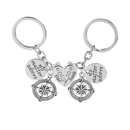 2 Pcs Best Friends No Matter Where Compass Key Chain Set Heart Best Friend Gifts for Teen Girls BFF Friendship Key Rings Deals