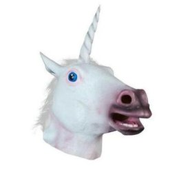 Wholesale Wholesale Halloween Latex Props - Magical Unicorn Masks Horse Mask Deluxe Latex Animal Mask Party Cospaly Halloween Costume Mask Theater Prop Novelty Style CCA7628 50pcs