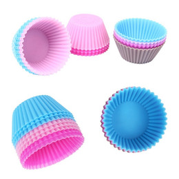 Wholesale Silicone Bake Forms - Wholesale- 6pcs Silicone Cake Mold Muffin Cupcake Baking Dishes Pan Form to Bake Cake Dessert Decorating Tools Bakeware Kitchen Dining Bar