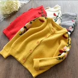 Wholesale Hand Knit Girls Cardigan - 5 Colors Princess Girls Sweaters Flower Ebroidered Long Sleeve Sweater Tops Knitting Cardigan Autumn Girl's Clothing Top A7241