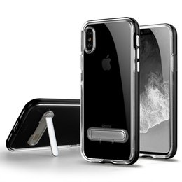 Wholesale Dual Iphone Case Hard Soft - for iPhone 8 Clear TPU+PC Dual Material Kickstand Clear Cell Phone Cases Soft Hard PC Protection Cover Skin for iPhone 8 Transparent Plastic