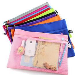 Wholesale File Folder Zipper - Raibow color gridding document bag with zipper multi layers zipper filing products A4 folder school office supplies
