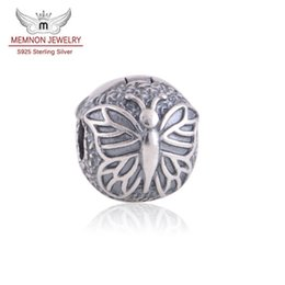 Wholesale Charm Stops - Memnon Jewery 925 Sterling Silver Butterfly Silver Lock Clip Core Stop Beads charms DIY Jewelry Fit bead Charm Bracelet fine jewelry KT080-N