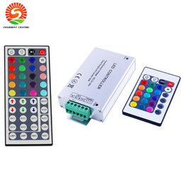 Wholesale Cheap Remote Control Wholesale - Aluminium 24Key 44Key 12A Output IR Remote Control Cheap DC12V-24V Input RGB Controllers for LED Strip