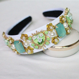 Wholesale Wedding Bands Trends - New Trend Baroque Luxury Velvet Crown Crystal Flower Hair Band Hair Jewelry Accessories Wedding Party Tiara Pearl Headband Gifts
