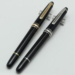 Penne d'argento puro online-Design di alta qualità di lusso Puro Black Gold / Silver-Clip Roller Penna a sfera ufficio scuola penna cancelleria per scrivere penne