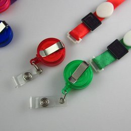 Wholesale Pull Beads - Creative work permit student card lanyard Badge Holder Badge Lanyard buckle easy to pull retractable buckle stretchable lanyard