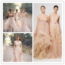 Wholesale Champagne Lace Layered Wedding Gown - 2017 Vintage Lace Court Train Wedding Dresses Elegant Champagne Sweetheart Ruffles Bridal Gowns V Neck Layered Reem Acra Boho Bridal Gowns