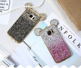 Casos de bling para samsung s6 online-3D Ear bling caja del teléfono para Samsung Galaxy S6 S7 Edge cubierta colorida gradiente brillo cubierta para Samsung Galaxy S8 más caso lindo