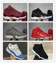 Wholesale Yellow Canvas Shoes Kids Boys - Children Basketball Shoes Wholesale New Air Retro 11 bred Velvet suede Boys Sneakers kids Sports Running girl trainers 28-35 With Box