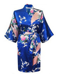 Wholesale phoenix color - Wholesale- Hot Sales 2017 Chinese Rayon Silk Simulation Spring Summer Women Robe Kimono Bath Gown Nightgown Bathrobe Phoenix Flower Pattern