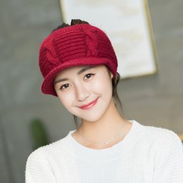 Wholesale Girls Snapbacks Hats - 2017 Fashion Autumn Winter Women Hats Snapbacks Baseball Caps Knitted Inside Fluff Rabbit Fur Girl Teens Leisure Cap Easy Hairstyle