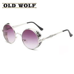 Wholesale Steam Punk Goggles Glasses - Wholesale- Steam Punk Circle Metal Sunglasses Women Circle Lens Round Men Sun Glasses 6 Colors Men Retro Vintage Glasses Oculos Goggles