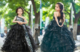 Wholesale Pageant Shows - One Shoulder Squined Ball Gown Floor Length Fuffles Show Dresses Cute CHic Girl's Pageant Dresses Cheap