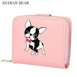 Wholesale Cute Passport Wallets - Wholesale- KUDIAN BEAR Women Wallets Cute Small Purse Carton Dog Short Wallet With Zipper Around Ladies Clutch Card Holder--BIC095 PM49