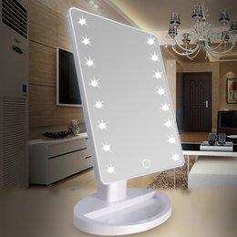 2019 составлять степень 360 градусов вращения сенсорный экран составляют зеркало косметический складной портативный компактный карман с 16 светодиодные фонари макияж инструмент скидка составлять степень