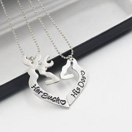 Wholesale Heart Shape Couple Necklace - Wholesale-2pcs Deer Hunting Her Buck His Doe Necklaces Kissing Heart Minimalist Hollow Heart Shape Pendant Special Couples Gift Lovers