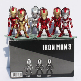 Wholesale Egg Dragon - Super Heros Mini Egg Attack Iron Man PVC Action Figure Toy With Light Collection Doll 6pcs set Free shipping