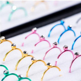 Wholesale Diamonds Box Packaging - 2017 fashion Nose Rings & Studs NEW 40PCS nose ring box packaging three colors nose ring set auger decorative accessories