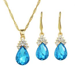 Wholesale Imitation Necklace Design - Elegant Colorful Imitation Crystal Wedding Jewelry Set Water Drop Design Dangle Earrings and Pendant Necklaces Set