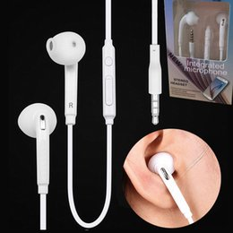 Wholesale Iphone Volume Headphone Jack - S6 S7 Earphone Earphones J5 Headphones Earbuds iPhone 6s Headset for Jack In Ear wired With Mic Volume Control 3.5mm 2Colors With Retail Box