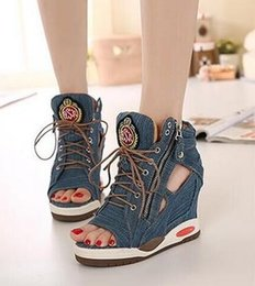 Wholesale Denim Pumps - 2017 High Heels Gladiator Sandals Open Toe Shoes Sexy Lady Pumps Woman Wedges Shoes female Platform Lady Shoes Jeans Designer Wedges.