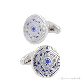 Wholesale Most Popular Business - Free Shipping-Europe's most popular Blue enamel boutique business cufflinks