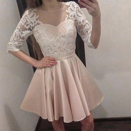 Wholesale Backless Half Sleeve Homecoming Dress - Gorgeous Champagne Satin Short Homecoming Dresses Sheer Neck Half Sleeves Appliques Lace Illusion Back Short Prom Dresses Party Dresses
