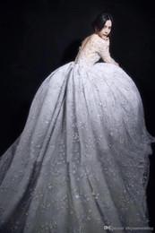 Wholesale Star Model Dress - model pictures Middle East Pakistan Turkey long sleeves ball gown wedding dresses 2018 full embellished stars bateau neckline long train