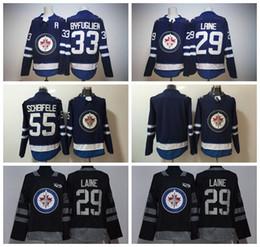 Wholesale Byfuglien Jersey - 2018 Season Winnipeg Jets 29 Patrik Laine Jersey 55 Mark Scheifele 33 Dustin Byfuglien Ice Hockey Jerseys 100th Anniversary Black Blue Men