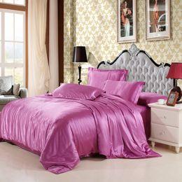 Wholesale Silver Satin Sheet Set - Wholesale-2016 Hot!! Mitation silk quilt red satin sheets cotton solid satin duvet cover set king size bedsheet 3 4pcs of bedding sets.