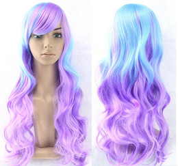 Wholesale Long Rainbow Wigs - Promotion Long Wavy Ombre Color Ladies Synthetic Hair Wig,Green Rainbow Color Japanese Kanekalon Fibre Anime Cosplay Wig Peruca